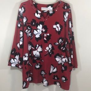 Alfred Dunner Size 1X Top Red Black and White